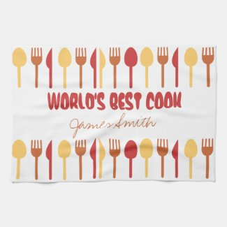 World's Best Cook Custom Name Red Orange Towel