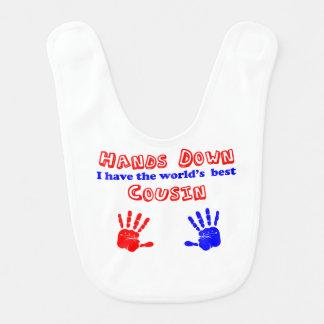 World's Best Cousin Hands Down Bib