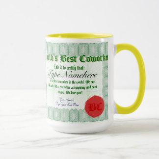 World's Best Coworker Certificate Award Mug