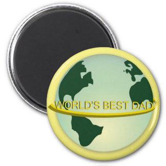 """""""World's Best Dad"""" 2 Inch Round Magnet"""