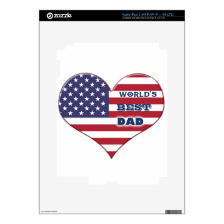 World's Best Dad American Flag Heart iPad 3 Decal