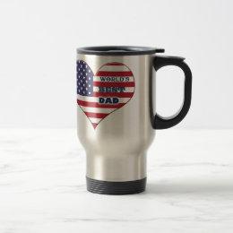 World's Best Dad American Flag Heart Travel Mug