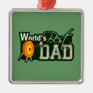 World's Best Dad; Archery Square Metal Christmas Ornament