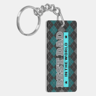World's Best Dad Argyle Patterned Father's Day Double-Sided Rectangular Acrylic Keychain