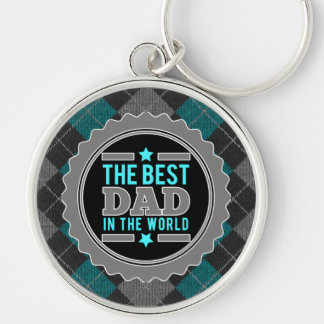 World's Best Dad Argyle Patterned Father's Day Silver-Colored Round Keychain
