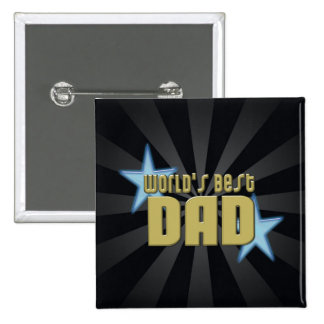 World's Best Dad Black/Gold Cool Father's Day Button