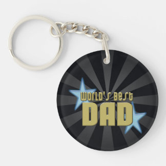 World's Best Dad Black/Gold Cool Father's Day Keychain