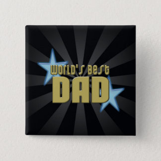 World's Best Dad Black/Gold Cool Father's Day Pinback Button