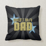 World's Best Dad Black/Gold Cool Father's Day Throw Pillow