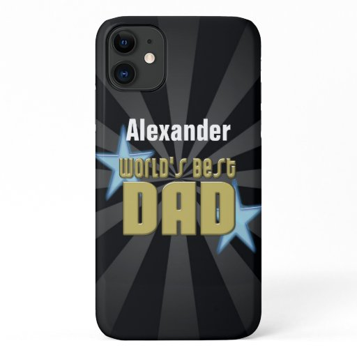 World's Best Dad, Blue Stars iPhone 11 Case