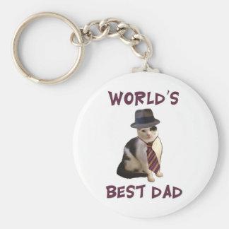World's Best Dad Cat Keychain
