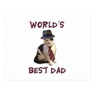 World's Best Dad Cat Postcard