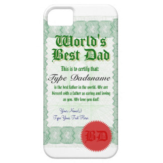 World's Best Dad Certicate iPhone 5 Cover