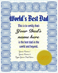 worlds best dad certificate gifts on zazzle