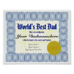 World's Best Dad Certificate Poster