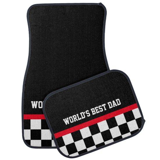 World's Best Dad checkered flag car mats