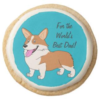 World's Best Dad Corgi Round Shortbread Cookie