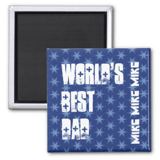 World's Best Dad Custom Name Blue Stars 2 Inch Square Magnet