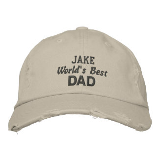World's Best DAD Custom Name Gray Text 01B Embroidered Hat