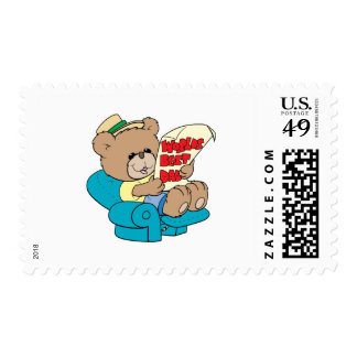 worlds best dad cute fathers day teddy bear design stamp