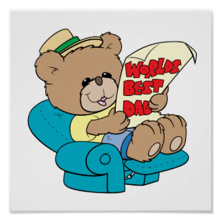 worlds best dad cute fathers day teddy bear design poster