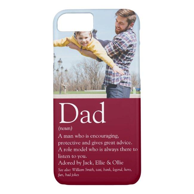 World's Best Dad Definition Fun Photo Burgundy Case-Mate iPhone Case