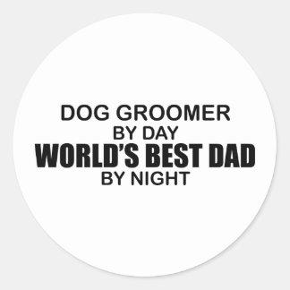 World's Best Dad - Dog Groomer Classic Round Sticker