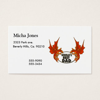 Worlds Best Dad Dragon In Gold Trim Business Card