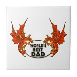 Worlds Best Dad Dragon In Gold Trim Tile