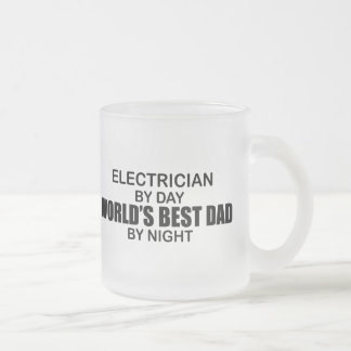 World's Best Dad - Electrician Frosted Glass Coffee Mug