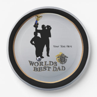 Worlds Best Dad Father's Day Holiday Paper Plates 9 Inch Paper Plate
