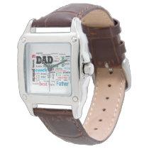 Worlds Best Dad Father Word Cloud Wrist Watch