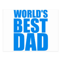 worlds best dad fathers day blue text design postcard