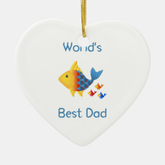 World's Best Dad (fish) Christmas Ornaments