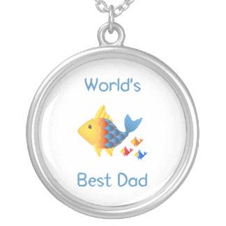 World's Best Dad (fish) Round Pendant Necklace