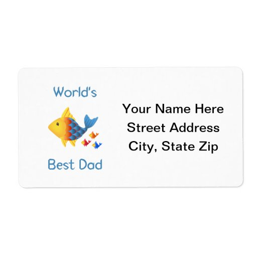 World's Best Dad (fish) Shipping Label