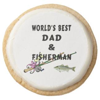 Worlds Best Dad Fishing Round Shortbread Cookie