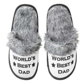 World's Best Dad Pair Of Fuzzy Slippers