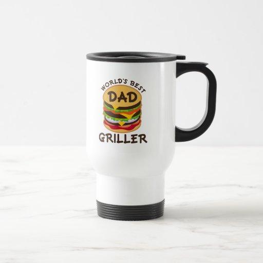 World's Best Dad Griller BBQ Theme Gift 15 Oz Stainless Steel Travel Mug