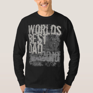 World's Best Dad Grunge Graffitti Text Black Shirt