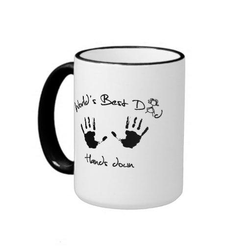 World's Best Dad Hands Down Ringer Coffee Mug