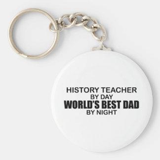 World's Best Dad - History Teacher Basic Round Button Keychain
