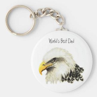 World's Best Dad, I love Bald Eagle, Bird Basic Round Button Keychain