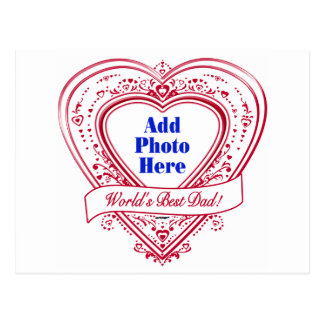 World's Best Dad! Photo Red Hearts Postcard