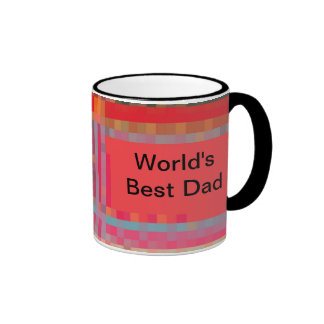 World's Best Dad, Pixel Plaid Coffee Mug