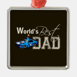 World's Best Dad; Racing Christmas Ornament
