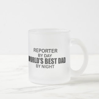 World's Best Dad - Reporter Frosted Glass Coffee Mug