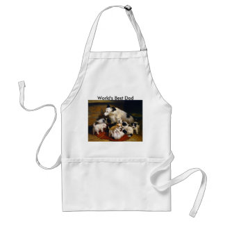 World's Best Dad Sheepdog and Puppies Adult Apron