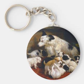 World's Best Dad Sheepdog and Puppies Keychain