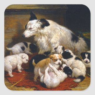 World's Best Dad Sheepdog and Puppies Square Sticker